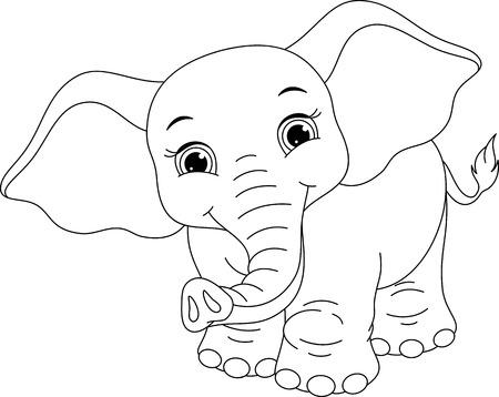 Photo pour Elephant Coloring Page - image libre de droit