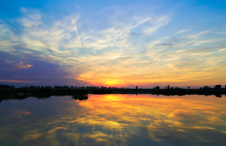 Photo for sunset over the lake. sunset over the lake. - Royalty Free Image