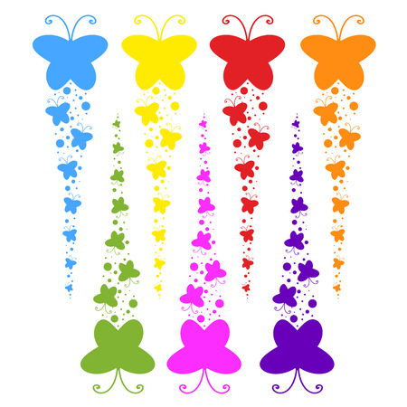 Ilustración de A flock of flat colored isolated butterflies flying one after another. Seven color options in the set. - Imagen libre de derechos