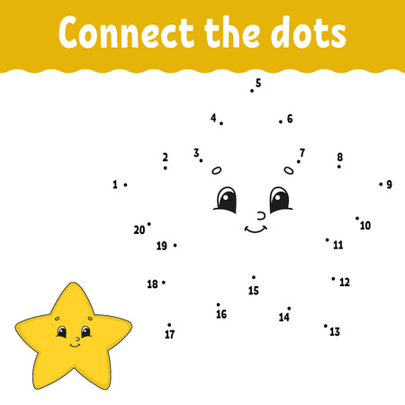Ilustración de Dot to dot. Draw a line. Handwriting practice. Learning numbers for kids. Education developing worksheet. Activity page. Game for toddler and preschoolers. Isolated vector illustration. Cartoon style - Imagen libre de derechos