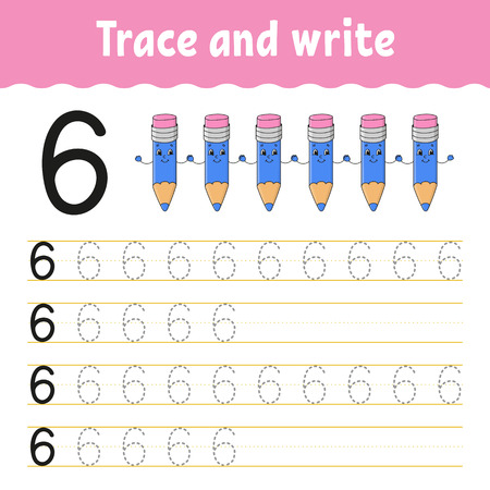 Ilustración de Trace and write. Handwriting practice. Learning numbers for kids. Education developing worksheet. Activity page. Game for toddlers and preschoolers. Isolated vector illustration in cute cartoon style - Imagen libre de derechos