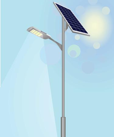 Illustration pour Street light with solar panels vector - image libre de droit
