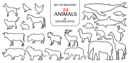Ilustración de Set of isolated 24 animals illustration in double black outline style for logo, icon or background design with blank space for text. - Imagen libre de derechos