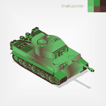 Military armored German tank vector illustration.