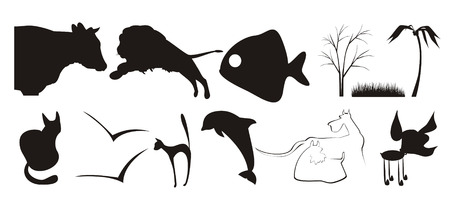 The figure containing of some silhouettes of different animals and plants. The image is executed by black color on a white background