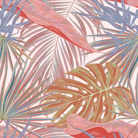 Illustration for Green palm leaves on the pink background. Vector seamless pattern. Tropical illustration. Jungle foliage. - Royalty Free Image