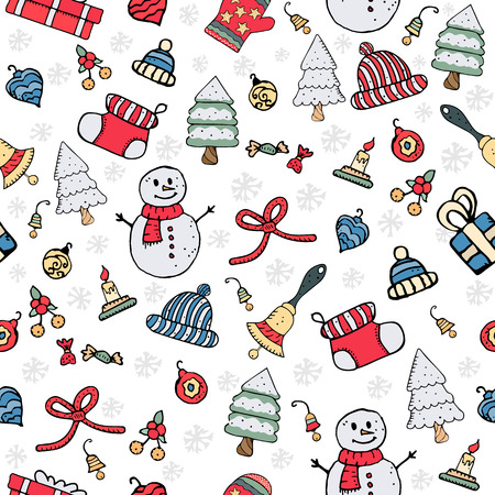 Illustration for Seamless Christmas pattern vector illustration - Royalty Free Image