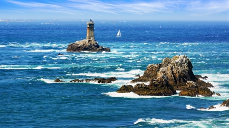 Photo for Lighthouse on Cape Sizun, Pointe du Raz  Brittany, France - Royalty Free Image