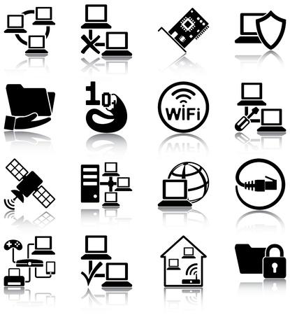 Ilustración de Computer networks related icons - Imagen libre de derechos