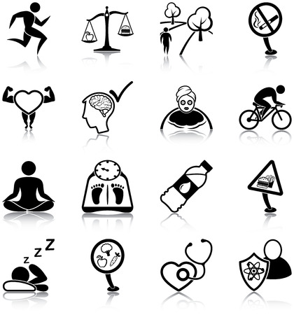 Illustration pour Healthy lifestyle icons - image libre de droit