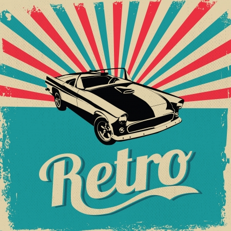 Vintage car design flyer - Grungy style vector design mural