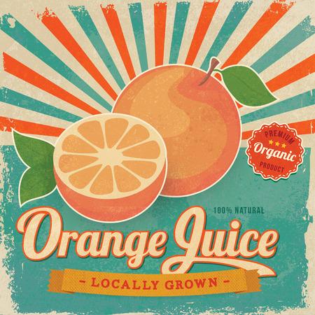 Illustration pour Colorful vintage Orange Juice label poster vector illustration - image libre de droit