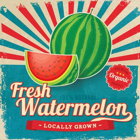 Illustration pour Colorful vintage Watermelon label poster vector illustration - image libre de droit