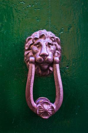 Photo pour knocker in metal lion's head on old wooden door - image libre de droit