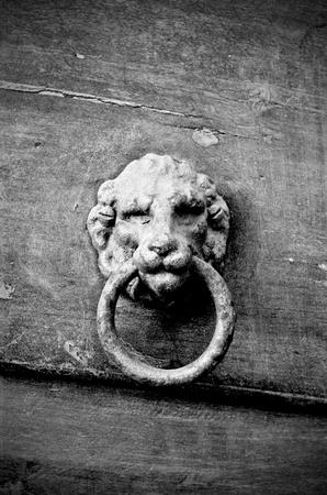 Photo pour Knocker in metal lion's head on old wooden door, black and white - image libre de droit