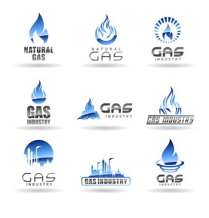 Ilustración de Natural gas vector logo templates isolated on plain background. - Imagen libre de derechos