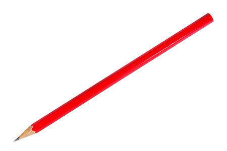Photo pour Red pencil on white background - image libre de droit