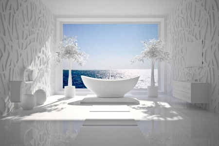 Modern interior of bathroom with sea view B W