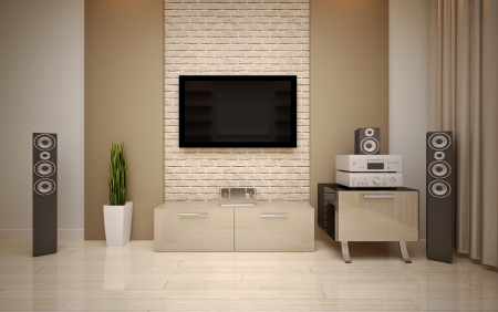 Photo for Modern living room bright beige shades - Royalty Free Image
