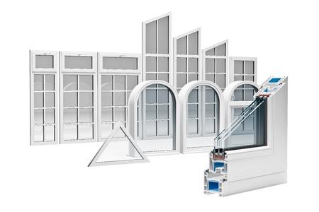 Photo pour incision Pvc profile windows with triple glazing - image libre de droit