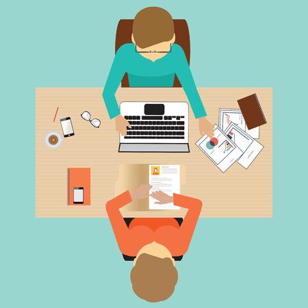 Illustration pour Recruitment flat banner set with job search,job interview, hired the job, conceptual vector illustration. - image libre de droit