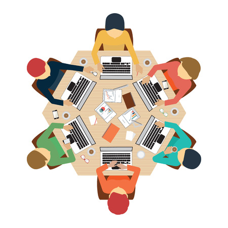 Illustrazione per Business meeting, office, teamwork, brainstorming in flat style, conceptual vector illustration. - Immagini Royalty Free