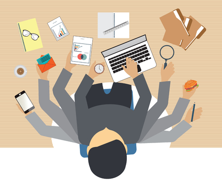 Ilustración de Busy business people working hard on his desk in office with a lot of paper work, Business conceptual on hard working. - Imagen libre de derechos