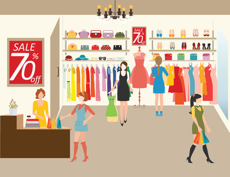 Illustration for Women shopping in a clothing store, Shopping fashion, bags, shoes, accessories on sale. Flat style vector illustration. - Royalty Free Image