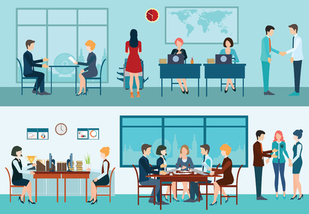 Illustration pour Business meeting, office, teamwork, planning, conference, brainstorming in flat style, conceptual vector illustration. - image libre de droit