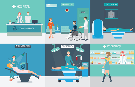 Illustration pour Info graphic of Medical services with doctors and patients in hospitals, dental care, x-ray, emergency, pharmacy, health care conceptual vector illustration. - image libre de droit
