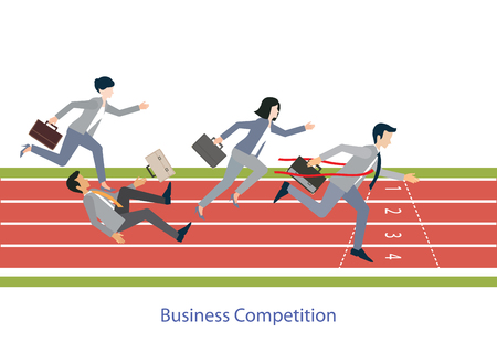 Ilustración de Business people running on red rubber track, business competition, conceptual vector illustration. - Imagen libre de derechos