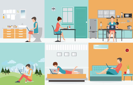Ilustración de Freelance set with Various cartoon character design working at home, work from home, self employed, home office, work at home, freedom, conceptual  vector illustration. - Imagen libre de derechos
