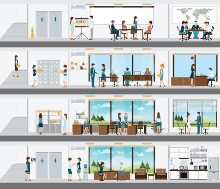 Illustration pour People in the interior of the building, Interior office building, office interior people, room office desk, office space, meeting room,  conference room vector illustration. - image libre de droit