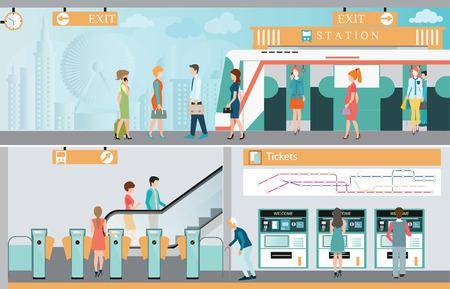 Ilustración de Subway train station platform with people traveling, Train ticket vending machines, Railway Map, Entrance of railway station - Imagen libre de derechos