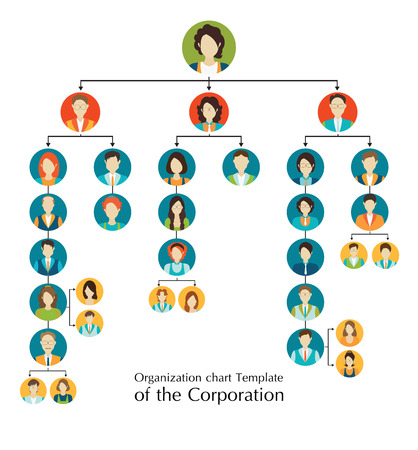 Foto per Organizational chart template of the corporation business hierarchy ,people structure, character cartoon business people conceptual vector illustration. - Immagine Royalty Free