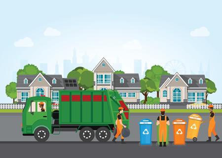 Ilustración de City waste recycling concept with garbage truck and garbage collector on village landscape background. - Imagen libre de derechos