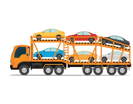 Illustration pour The trailer transports cars with new auto, truck trailer transport vehicles isolated on white background, vector illustration. - image libre de droit