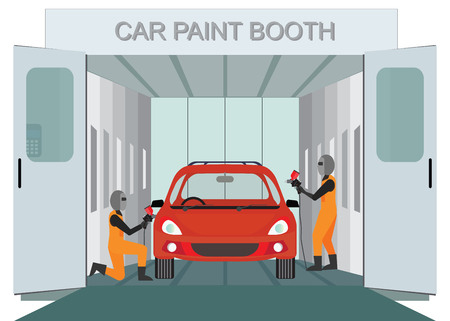 Illustration pour Auto mechanic worker painting new car at car paint booth  by spraying red color paint,auto garage vector illustration. - image libre de droit
