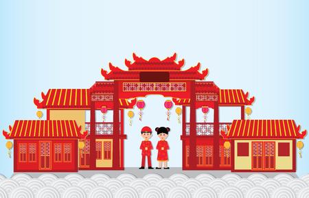 Ilustración de Happy New Year in China Town with chinese boy and girl ,happy chinese new year paper art and craft style vector illustration. - Imagen libre de derechos