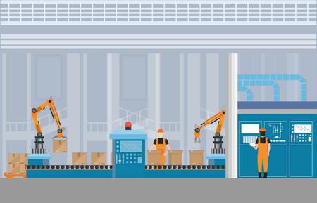 Ilustración de Manufacturing Warehouse Conveyor with workers, robots and assembly line Industrial, Robot working with conveyor belt inside factory, Flat Vector Illustration. - Imagen libre de derechos