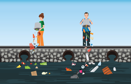 Illustrazione per People dumping garbage into the river, water pollution environment conceptual vector illustration. - Immagini Royalty Free