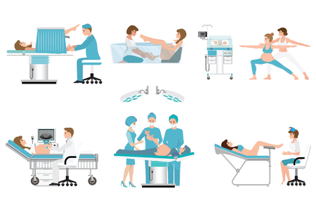 Ilustración de Various birthing of pregnant woman isolated on white, birth Surgery, natural birth ,giving birth in water and child care newborn baby inside infant incubators, vector.  - Imagen libre de derechos