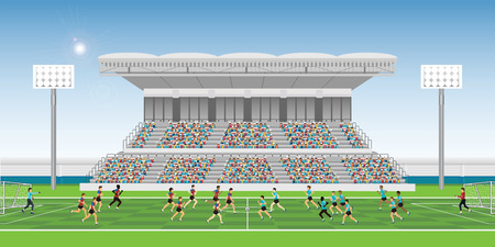 Photo for Crowd in stadium grandstand to cheering football match team players sport championship, soccer man players in action, vector illustration. - Royalty Free Image