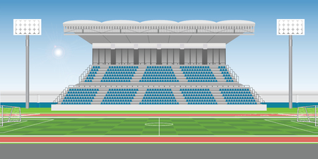 Illustrazione per Sport stadium grandstand to cheering sport with soccer field in sunny day, public building vector illustration. - Immagini Royalty Free