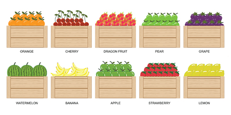 Illustration for Fruits and berries in wooden box icons collection set isolated on white, vector  illustration. - Royalty Free Image