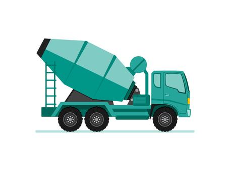 Illustration pour concrete cement mixer truck icon in flat design style vector illustration - image libre de droit