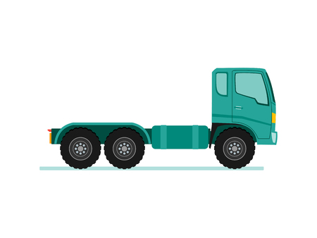 Illustration pour Truck trailer with container. long vehicle with flat design style vector illustration. - image libre de droit