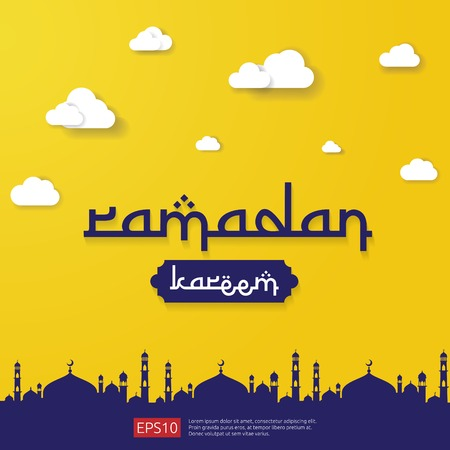 Illustration for Ramadan Kareem islamic greeting design with dome mosque element in flat style. background Vector illustration. - Royalty Free Image