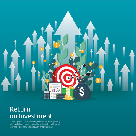 Illustration pour Return on investment ROI concept. business growth arrows to success. dollar stack pile coins and money bag. chart increase profit. Finance stretching rising up. banner flat style vector illustration. - image libre de droit
