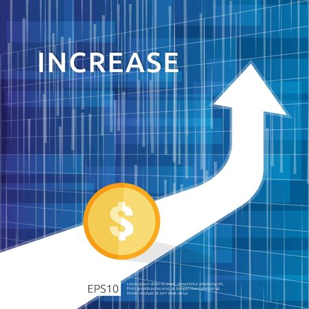 Illustration pour Finance performance of return on investment ROI concept with arrow. income salary rate increase. business profit growth margin revenue. cost sale icon. dollar symbol flat style vector illustration - image libre de droit